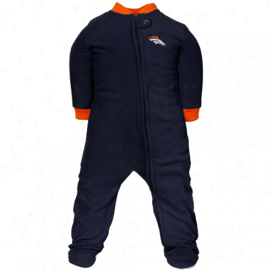 Denver Broncos Babe Navy Blue Fleece Footed Sleeper