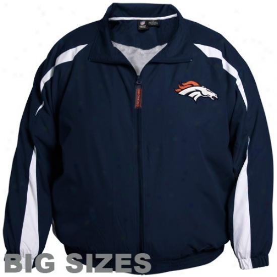 Denver Broncos Jacket : Denver Broncos Navy Blue Microfiber Big Sizes Jacket