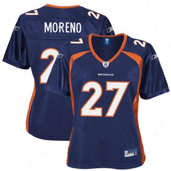Denver Broncos Jersey : Reebok Knowshon Moreno Denver Broncos Women's Premier Tackle Twill Jersey - Navy Blue