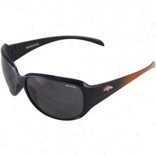 Denver Broncos Ladies Navy Blue-orange Fade Velocity Sunglasses