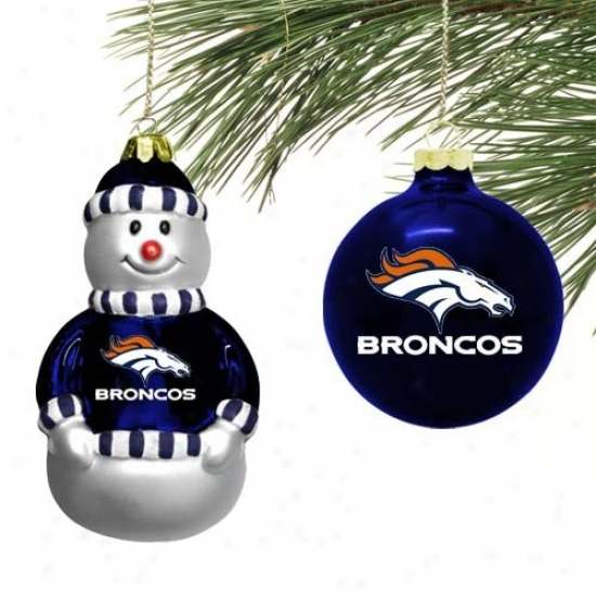 Denver Broncos Mini Blown Glass Ornament Set