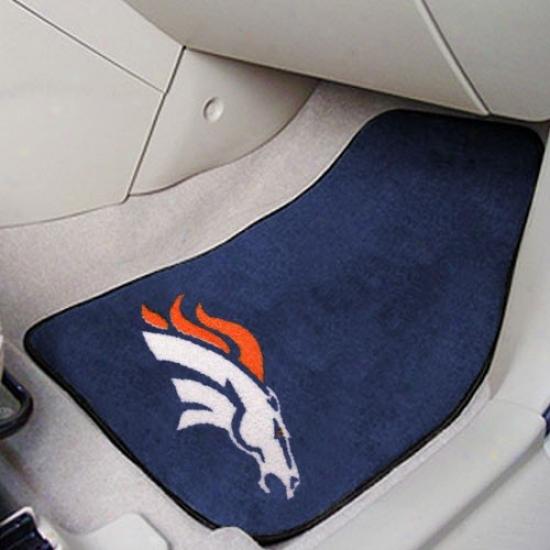 Denver Broncos Navy Blue 2-piece Carpet Car Mat Set