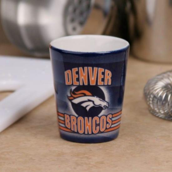 Denver Broncos Navy Blue End Zone Ceramic Shot Glass