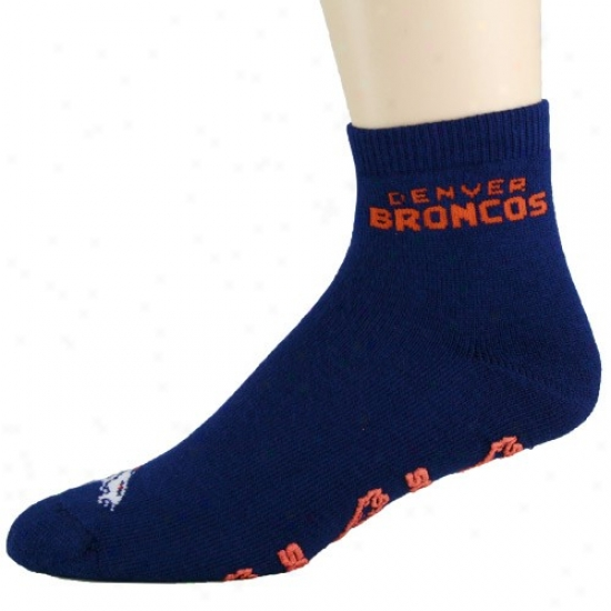 Denver Broncos Nsvy Blue Slipper Socks
