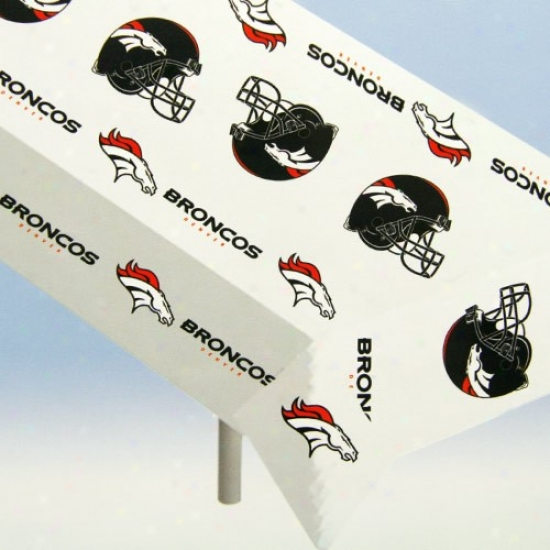 Denver Bronco Nfl Team Logo  Plastic Tablecloth