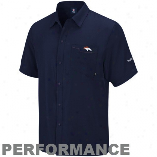 Denver Broncos Polos : Reebo Denver Broncos Navy Blue Sideline Full Button Performance Polos