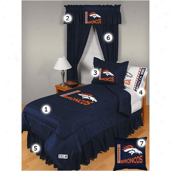 Denver Broncos Queen Size Locker Room Bedroom Set