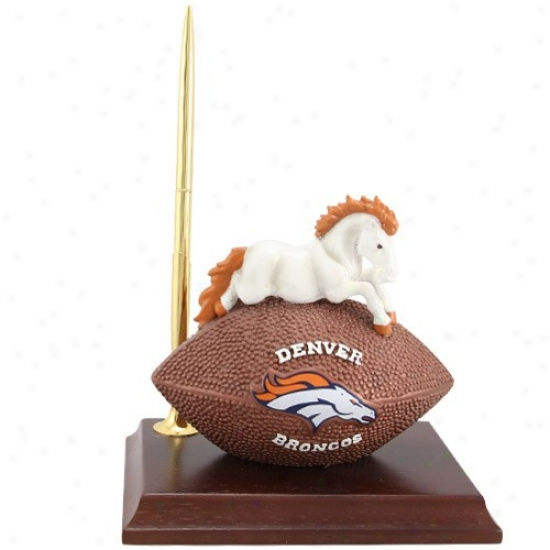 Denver Broncos Resin Mascot Clock And Pn Set