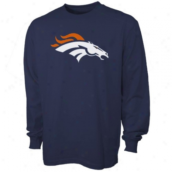Denver Broncos Shirt : Reebok Denver Broncos Preschool Navy Blue Prime Logo Long Sleeve Shirt