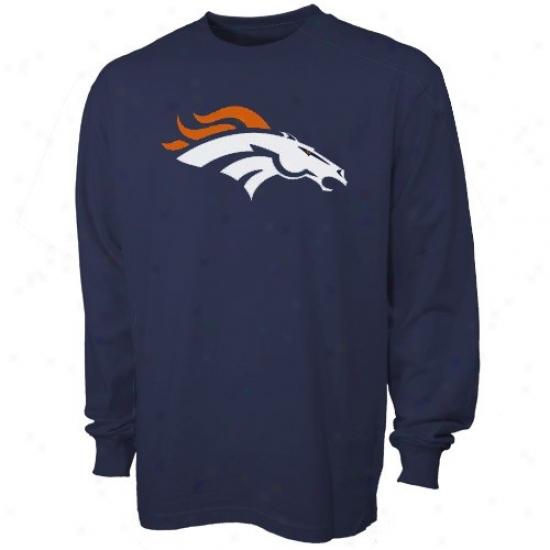 Denver Broncos Shirt : Reebok Denver Broncos Preschool Navy Blue Prime Logo Long Sleeve Shirt