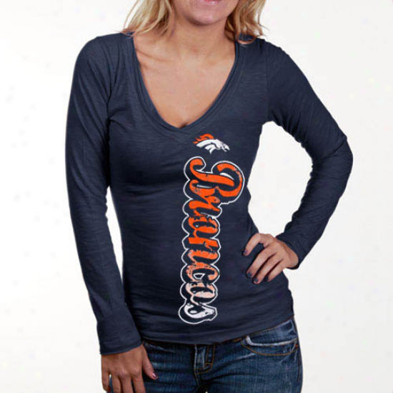 Denver Broncos Shirts : Denver Broncos Ladies Navy Blue Up And Down Slub V-neck Long Sleeve Shirts