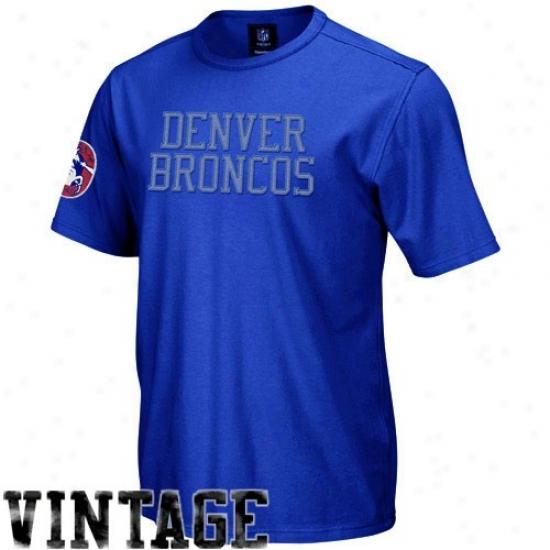 Denver Broncos Shirts : Rebeok Denver Broncos Royal Blue Vintage Applique Premium Shirts