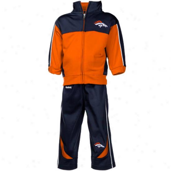 Denver Broncos Sweatshirts : Reebok Denver Broncos Infant Orange-navy Blue Full Zip Jacket & Pantss Set