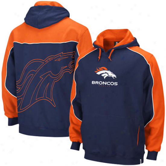 Denver Broncos Sweatshirts : Reebok Denver Broncos Navy Blue-orange Arena Pullover Sweatshirts