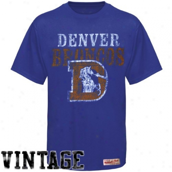 Denver Broncos T Shirt : Mitchell & Ness Denver Broncos Royal Blue Premium Vintage T Shirt