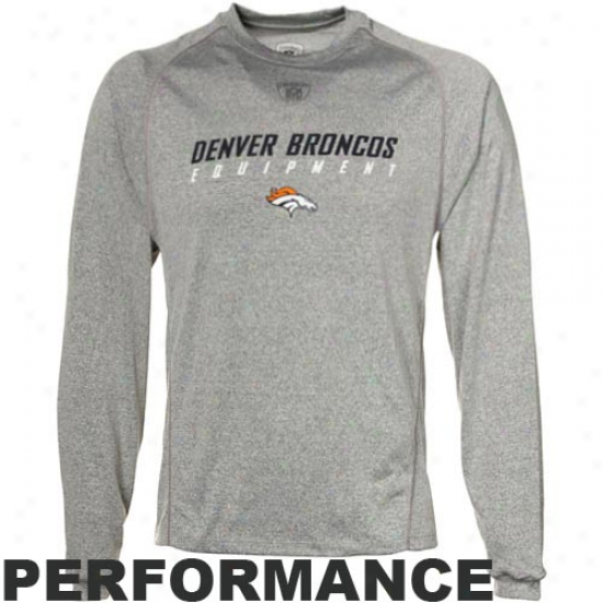 Denver Broncos T-shirt : Reebok Denver Broncos Ash Sideline Equipment Speedwick Performancce Heathered Far-seeing Sleeve T-shirt