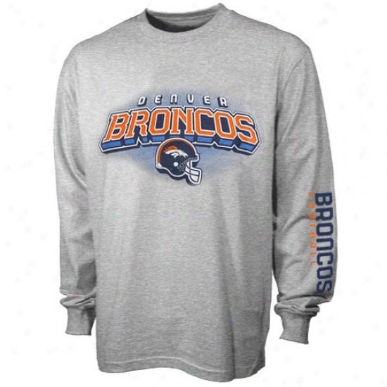 Denver Broncos T-shirt : Reebok Denver Brkncos Youth Ash Complete Long Sleeve T-shirt