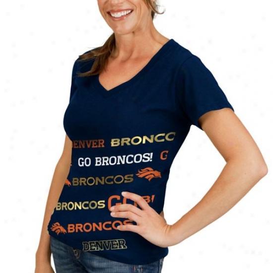Denver Broncos Tee : Denver Broncos Ladies Navy Blue Bling Diva Premium V-neck Tee