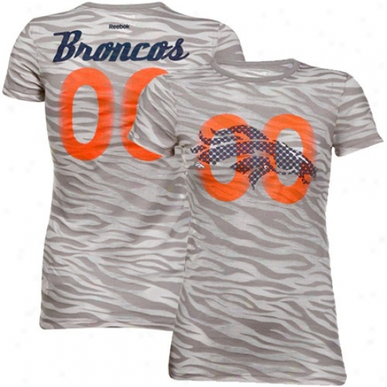 Denver Broncos Tee : Reebok Dener Broncos Ladies Gray Field Flirt Animal Print Burnout Premium Tee