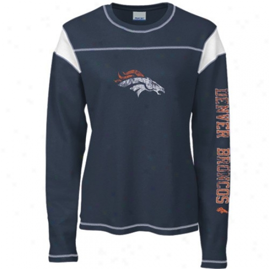 Denver Broncos Tee : Reebok Denver Broncos Ladies Navy Blue Giant Logo Long Sleeve Vintage Premium Thermal Tee