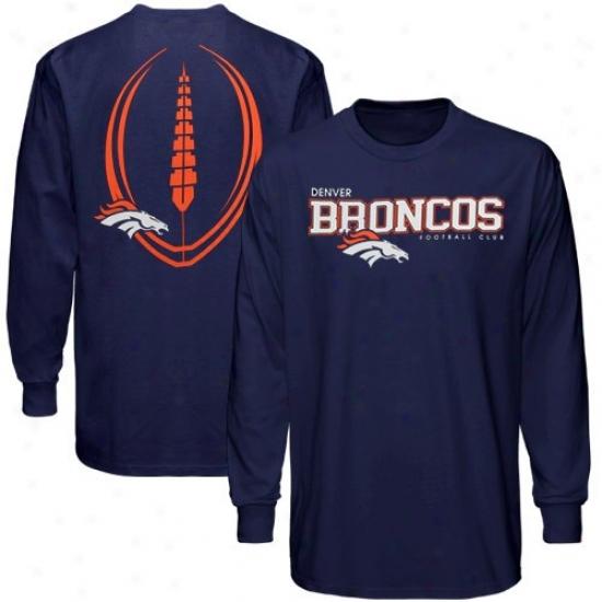 Denver Broncos Te : Reebok Denver Broncos Navy Blue Ballistic Long Sleeve Tee
