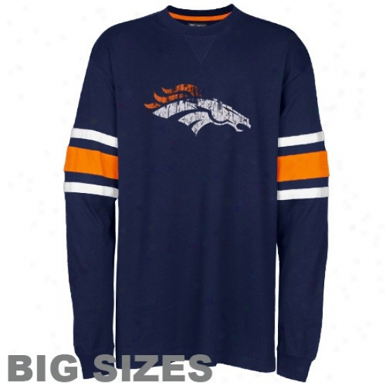 Denver Broncos Tees : Denver Brincos Navy Blue End Line Long Sleeve Vintage Big Sizes Tees