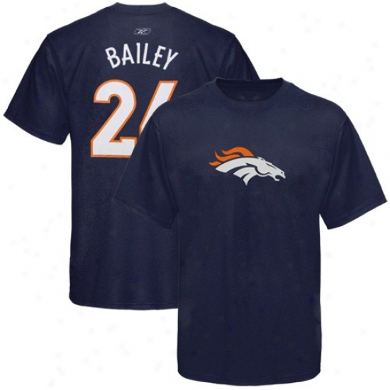 Denver Broncos Tees : Reeobk Denver Broncos #24 Champ Bailey Navy Blue Scrimmage Gear Tees