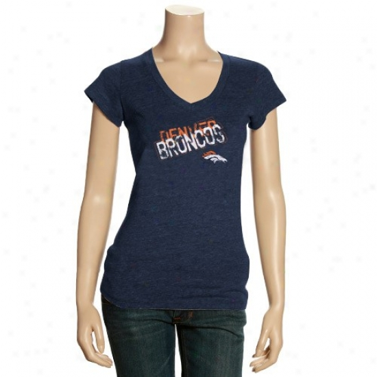 Denver Broncos Tshirt : Denver Broncos Ladies Heather Navy Blue Triblend Premium V-neck Tshirt