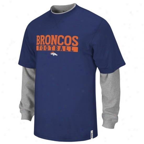 Denver Broncos Tshirts : Reebok Denver Broncos Navy Blue-gray Splitter Double Layer Tshirts