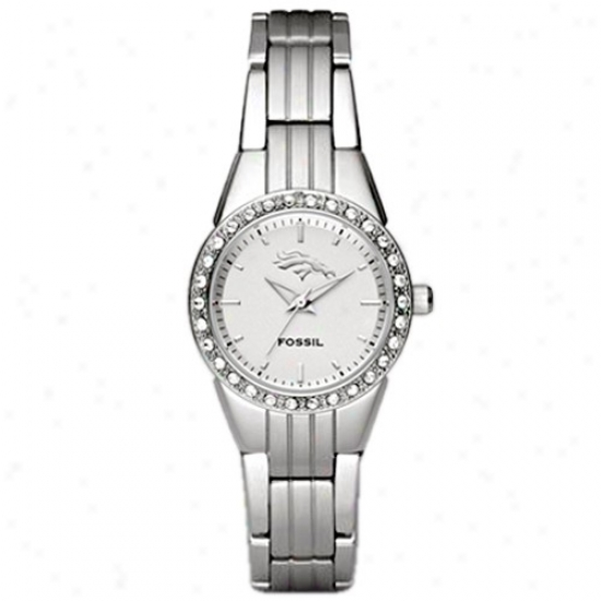 Denver Broncos Wztch : Fossil Denver Brondos Ladies Stainless Steel Analog Glitz Watch