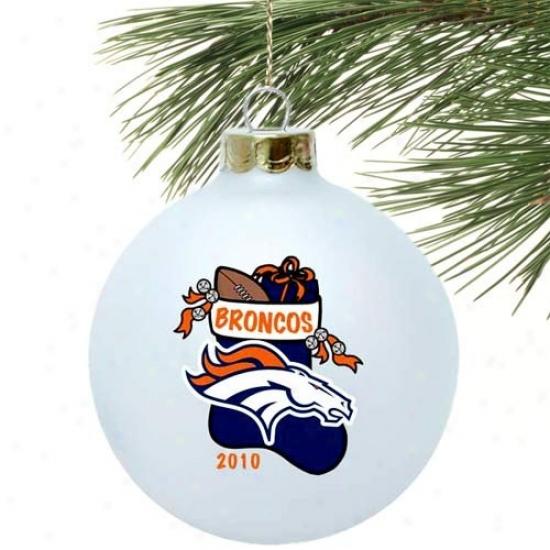 Denver Broncos White 2010 Collectors Series 3 1/4'' Stocking Ornament