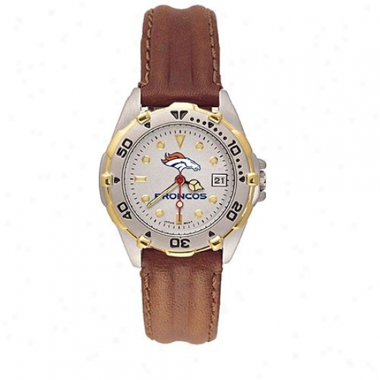 Denver Broncos Wrist Watch : Denver Broncos Ladies All Star Wrist Watch W/leather Band