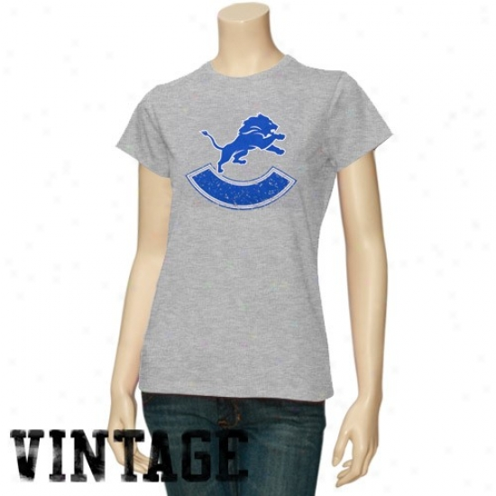 Detroit Lion Attire: Detroit Lion Ladies Ash Basic Round Logo Vintgae T-shirt