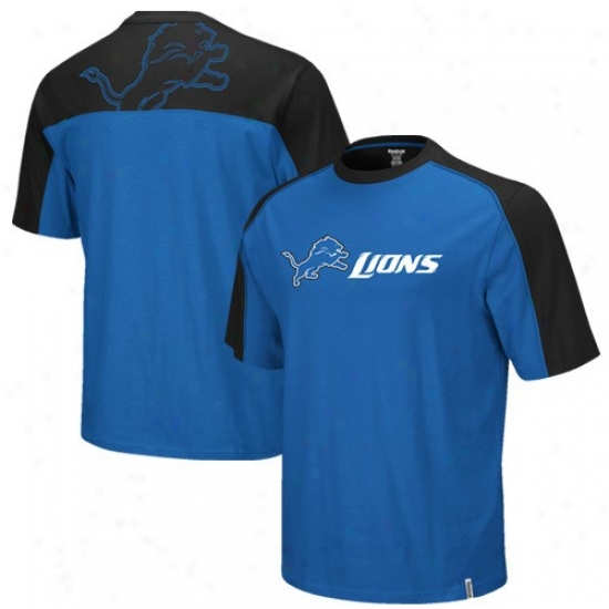 Detroit Lion Attire: Reebok Detroit Lion Royal Blue-black Draft Pick T-shirt