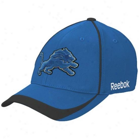 Detroit Lion Caps : Reebok Detroit Lion Blue Blower Stretch Fit Caps