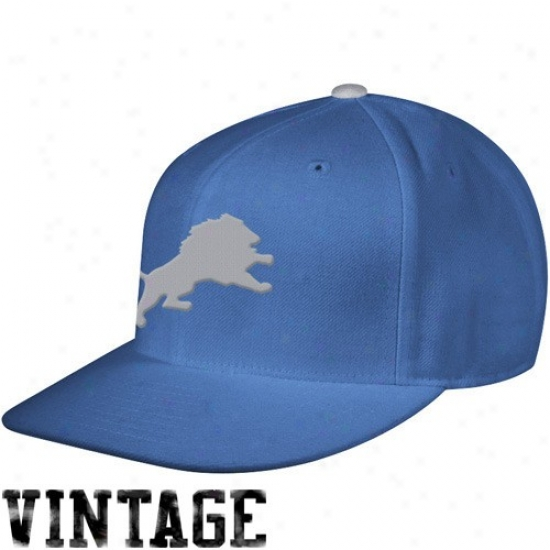 Detroit Lion Hat : Mitchell & Ness Detroit Object of interest Royal Blue Vintage Logo Fitted Hat