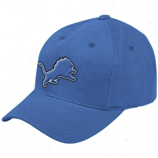 Detroit Lion Hat : Reebok Detroit Lion Blue Youth Basic Logo Adjustable Hat