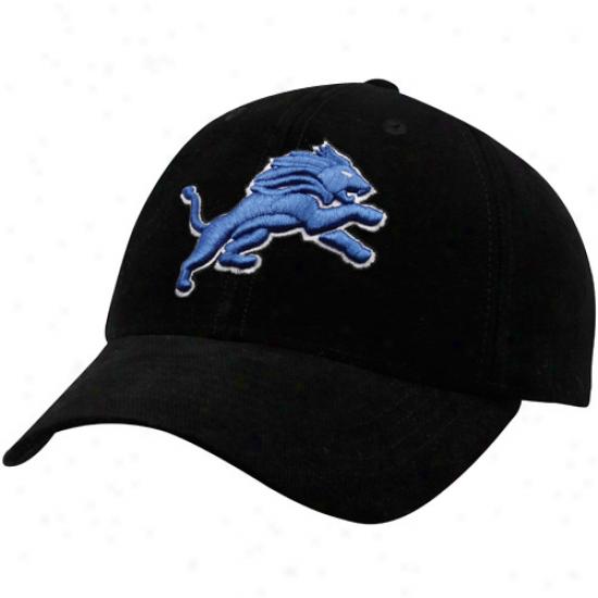 Detroit Lion Hats : Reebok Detroit Lion Black Brushed Cotton Adjusyable Hats
