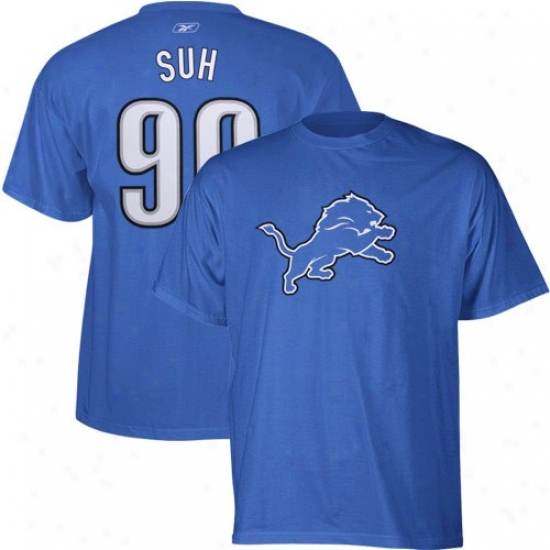 Detroit Lion Shirts : Reebok Detroit Lion #90 Ndamukong Suh Light Blue Scrimmage Mechanism Player Shirts