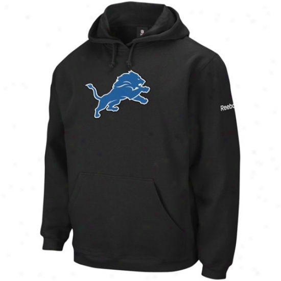 Detrokt Lion Stuff: Reebok Detroit Lion Black Playbook Hoody Sweatshirt
