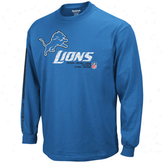 Detroit Lion T Shirt : Reebok Detroit Lion Youth Gossamery Blue Sideline Tacon Long Sleeve T Shirt