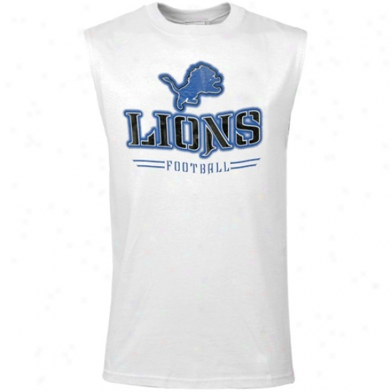 Detroit Lion Tee : Reebok Detroit Likn Youth White Rough Gloss Muscle Tee