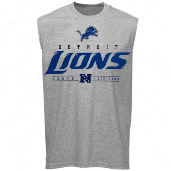 Detroit Lion Tees : Detroit Lion Ash Crtiical Victory Iv Sleeveless Tees