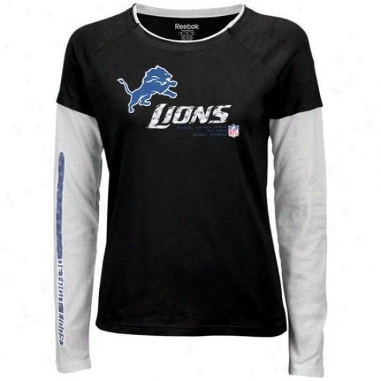 Detroit Lion Tshirts : Reebok Detroit Lion Ladies Black Sideline Tacon Long Slesve Layered Texture Tshirts