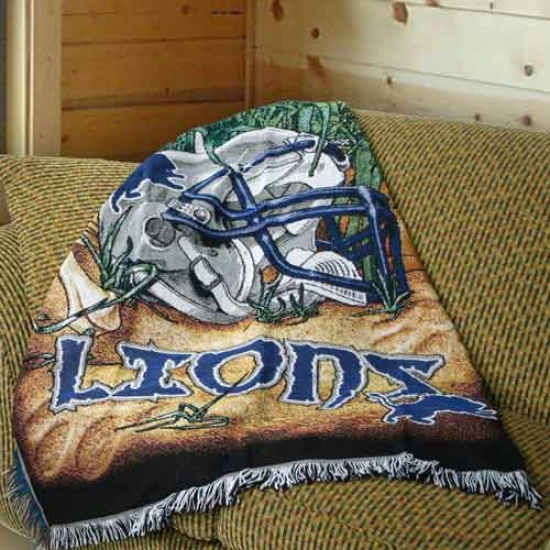 """detroit Lions 48""""x60"""" Acrylic Triple Woven Home Field Advantage Blanket Throw"""