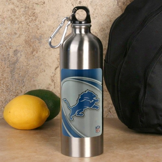 Detroit Lions 750ml Stainless Steel Water Bottle W/ Carabiner Clip