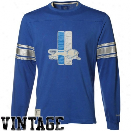 Detroit Lions Apparel: Reebok Detroit Lions Light Blue Distressed Throwback Applique Premium Long Sleeve T-shirt