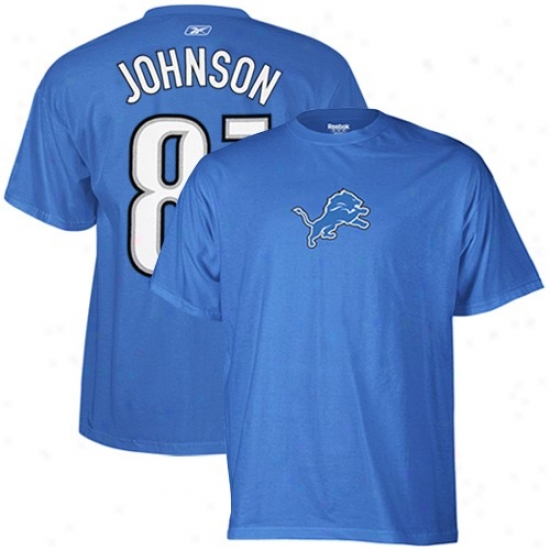 Detroit Lions Attire: Reebok Detroit Lions #81 Calvin Johnson Light Blue Scrommage Gear T-whirt