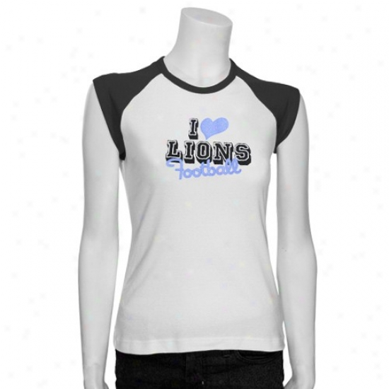 Detroit Lions Attire: Reebok Detroit Lions White Ladies Queen T-shirt