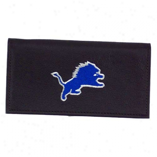 Detroit Lions Black Embroidered Checkbook Cover